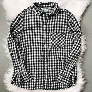 GAP Gingham Flannel Black & White Shirt